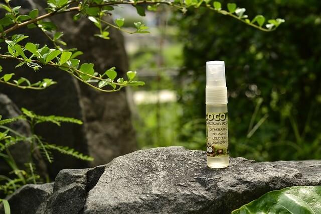 Na kamieniu stoi butelka z olejkiem kokosowym