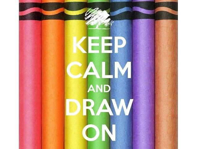 Kolorowe pastele z angielskim napisem