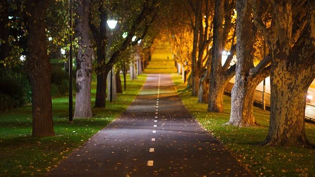 Spacer po parku jesiennego wieczoru